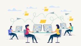 De meisjes die bij Computer zitten controleren Mensen het Babbelen stock illustratie