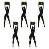 De meisjes die van de silhouet boksring teken houden Verschillende lichaamstypes Stock Afbeelding