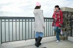 De Meisjes die van de universiteit bij het Meer spreken Royalty-vrije Stock Fotografie