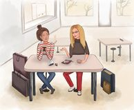 De meisjes drinken koffie na het winkelen in een koffiewinkel royalty-vrije illustratie