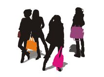 De meisjes droegen een handtas Stock Foto