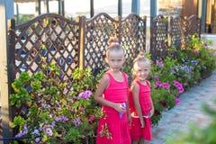 De meisjes genieten van hun de zomervakantie Stock Foto