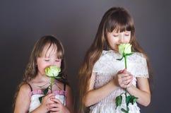 De meisjes houden bloemen Stock Fotografie