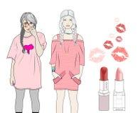 De meisjes houden van roze Stock Afbeeldingen