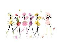 De meisjes kleedden zich in bloemenkostuums, kippenpartij voor Royalty-vrije Stock Foto