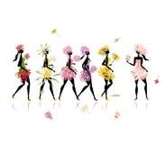 De meisjes kleedden zich in bloemenkostuums, kippenpartij voor Royalty-vrije Stock Fotografie