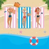 De meisjes met zwemmen slijtageontwerp vector illustratie