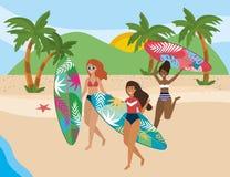 De meisjes met zwemmen slijtageontwerp stock illustratie