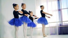De meisjes oefenen bewegingen met hun balletleraar uit stock footage