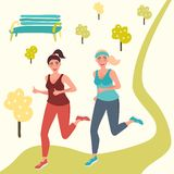 De meisjes op een ochtend stoten aan Sporten, het lopen, fitness Gezonde Levensstijl Vector grafiek vector illustratie