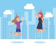 De meisjes op een partij ontwerpen stock illustratie
