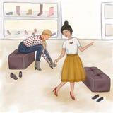 De meisjes proberen op schoenen in de opslag royalty-vrije illustratie