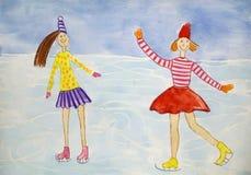 De meisjes schaatsen Kinderen` s tekening, waterverf Royalty-vrije Stock Afbeelding