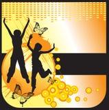 De meisjes silhouetteren op abstracte achtergrond Royalty-vrije Stock Fotografie