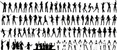 De meisjes silhouetteren (+ vector) royalty-vrije illustratie