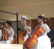 De meisjes spelen cello royalty-vrije stock foto's