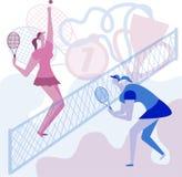 De meisjes spelen heel wat tennis Kampioenschap in tennis Toekenningsvector royalty-vrije illustratie