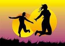 De meisjes springen Stock Afbeelding