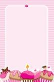 De Meisjes van Cupcake nodigen/Menu uit Royalty-vrije Stock Afbeeldingen
