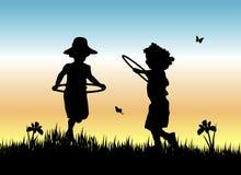 De Meisjes van de Hoepel van Hula Royalty-vrije Illustratie