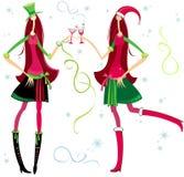 De meisjes van de kerstman royalty-vrije illustratie