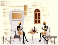 De meisjes van de manier in koffie het babbelen vector illustratie