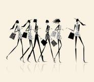 De meisjes van de manier met het winkelen zakken, illustratie Stock Afbeelding