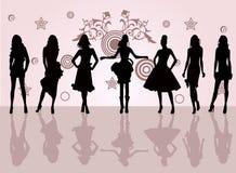 De meisjes van de manier - vectorillustratie Stock Foto's