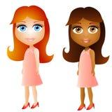 De Meisjes van het Gezicht van Doll van het beeldverhaal Royalty-vrije Stock Foto's