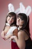 De meisjes van het konijntje Stock Foto