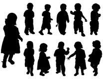De meisjes van het silhouet en jongens, vector Royalty-vrije Stock Foto