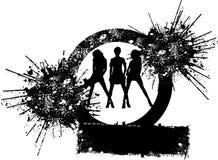 De Meisjes van het trio vormen Silhouet Royalty-vrije Stock Afbeeldingen