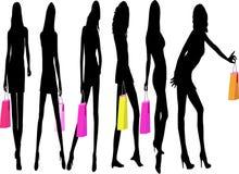 De Meisjes van Shoping - vectorillustratie Stock Fotografie