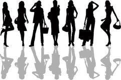 De Meisjes van Shoping - vectorillustratie Royalty-vrije Stock Foto