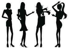 De meisjes van silhouetten Royalty-vrije Stock Foto's