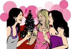 De meisjes vieren de partij van Kerstmis stock afbeeldingen