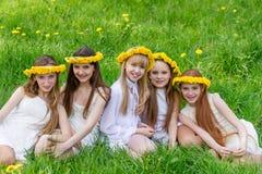 De meisjes zitten in het gras met kronen van paardebloemen Stock Foto