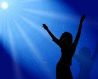 De meisjesdansen in maanlicht Royalty-vrije Stock Fotografie