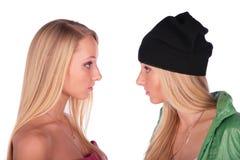 De meisjesgezichten van tweelingen Royalty-vrije Stock Afbeelding