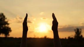 De meisjeshanden grijpt de zonsondergang stock video