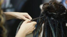 De meisjeskapper weeft dreadlocks cliënt in de salon stock video