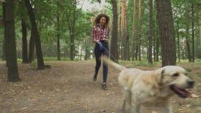 De meisjeslooppas met een hond in het bos stock videobeelden