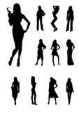 De meisjessilhouetten van de manier Stock Foto's