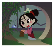 De meisjesstrijder, Chinese, oude geschiedenis, Mulan, beeldverhaal stock illustratie