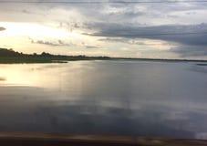 De Mekong Rivier bij zonsondergang Stock Fotografie