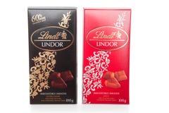De Melk en Dark van de Chocoladerepen van Lindor van Lindt Royalty-vrije Stock Foto's