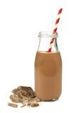 De melk van de chocolade in fles Stock Foto's