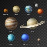 De melkwegpictogrammen van zonnestelselplaneten royalty-vrije illustratie