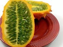 De Meloen van Kiwano (Gehoornde Meloen) Stock Foto's