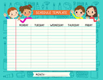 De memoranda van het het programmamalplaatje van het schoolplan voor kinderen worden geplaatst dat royalty-vrije illustratie